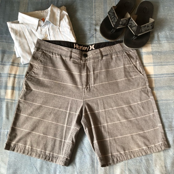 Hurley Other - Hurley Gray w/White Stripes Active Shorts EUC